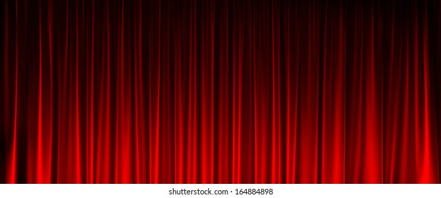 red velvet curtain with light in front view