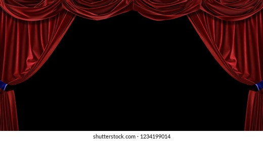 Red velvet curtain on black background. 3D illustration