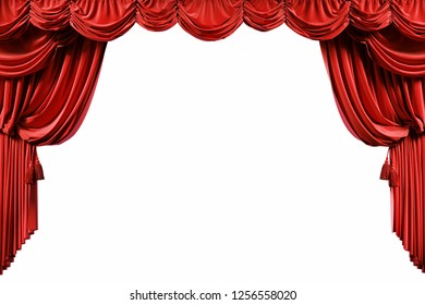 Red velvet curtains isolated on white background. 3d illustration
