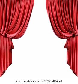 Red velvet curtains isolated on white background. 3d illustration