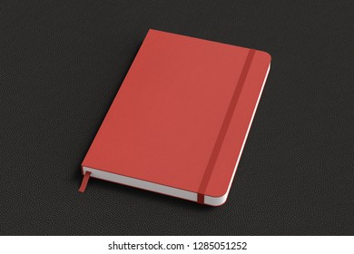 Red vertical notebook with elastic band on black background. 3d illustration