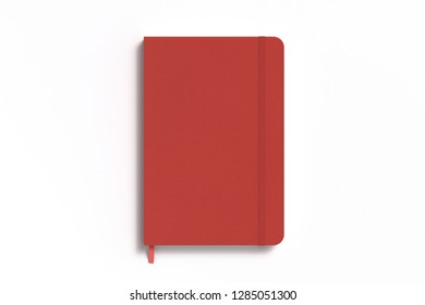 Red vertical notebook with elastic band on white background. 3d illustration