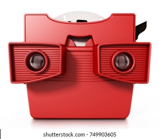 Red vintage 3D slide viewer isolated on white background. 3D illustration.