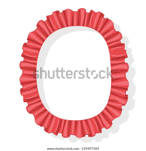 red vintage font, flounce letter o, isolated on white background raster