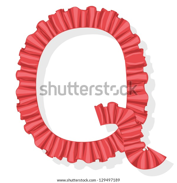 red vintage font, flounce letter q, isolated on white background raster