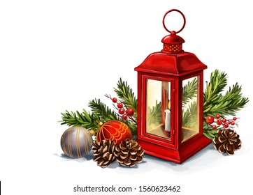 Red vintage lantern with a burning candle with Christmas toys, Decorative Christmas ornament, art illustration painted with watercolors isolated on white background