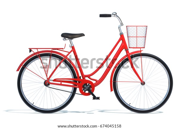 Red Vintage Style Bike isolated on white. 3D illustration