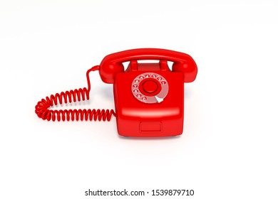 Red vintage telephone, red colored old fashioned retro phone on white background 3d rendering, 3d illustration minimal style concept.