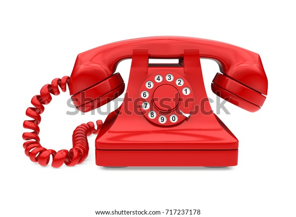 Red Vintage Telephone Isolated. 3D rendering