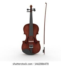 The Red Violin 3D Illustration