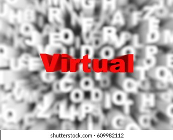 red virtual word on typography background, rendered image