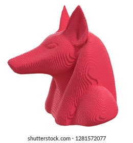 Red voxel Anubis head on a white background. 3D illustration.