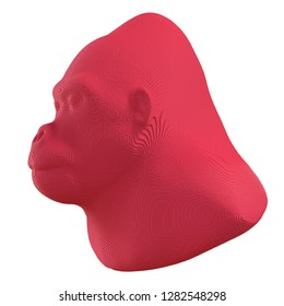 Red voxel gorilla head on a white background. 3D illustration.