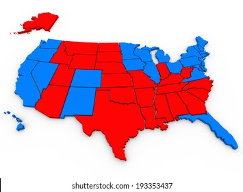 Red Vs Blue United States of America Parties Election