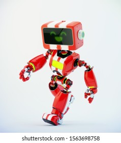 Red walking retro robotic toy with digital screen, 3d rendering