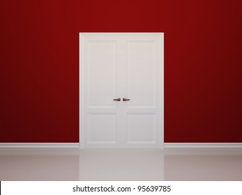 Red walls and white door. Front view