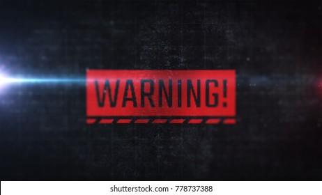 Red warning label with LCD monitor effect. Close up display view with alert indicator. Computer error message.