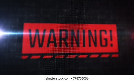 Red warning label on LCD monitor. Close up display view with pixels visible. Operating system alert popup.