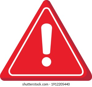 Red warning sign (!) is on white background that look like 3D
