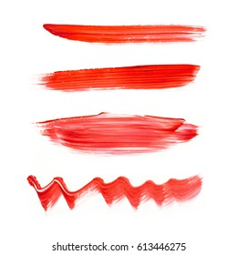 Red watercolor acrylic paint stain isolated on white background. Dynamic Brush Stroke. Art Abstract Space for Text or logo. Concept for stickers, banners, cards, advertisement