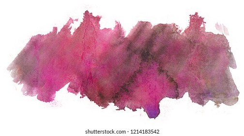 red watercolor blot texture on white background isolated