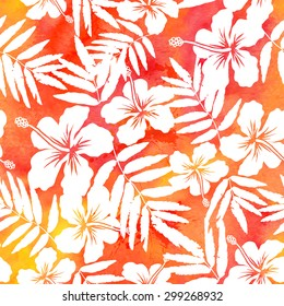 Red watercolor hibiscus summer seamless pattern