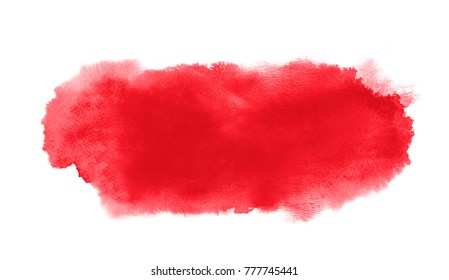 Red watercolor long stain with paint blotch and brush stroke