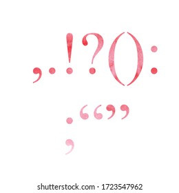red watercolor punctuation marks isolated on a white background. font, text. For design invitation, card, poster.