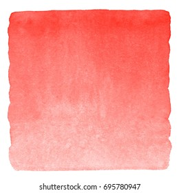 Red watercolor square gradient fill with uneven edges. Watercolour stains Valentine's day background. Abstract painted template for text design. Brush drawn aquarelle texture isolated on white.