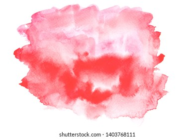red watercolor stain shades paint stroke on white background