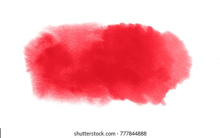 Red watercolor stain with watercolour paint blot and brush stroke for Valentine background