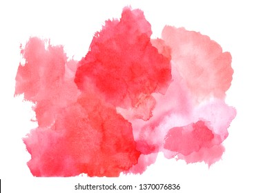 red  watercolor stains with gradient.Watercolor cloud