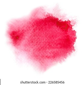 Red watercolour or ink stain with water color paint splash