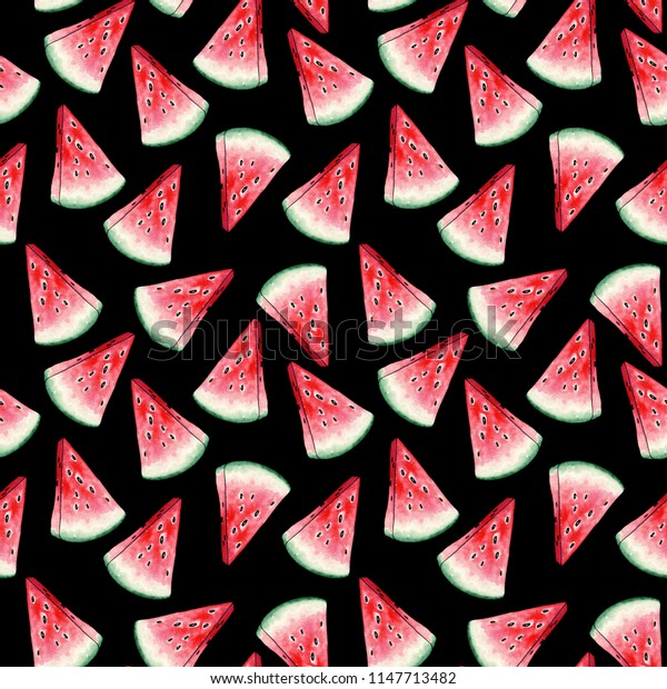 Red Watermelon Slices Seamless Pattern on Black Background. Cross Section of Summer Juicy Fruit. Fresh and Ripe Pieces of Sweet Plant with Seeds. Vegetarian Fashion Textile Design for Prints