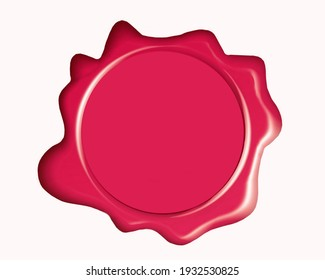 Red wax seal with copy space isolated on white background.