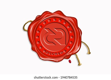 Red wax seal with copy space on a white background. Icon seal wax realistic stamp with rope and digital cryptocurrency logo: Decred (DCR)
