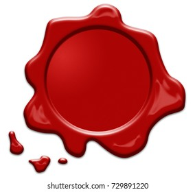 Red wax seal or signet isolated with clipping path