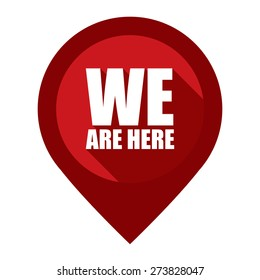 Red We Are Here Map Pointer Icon Isolated on White Background