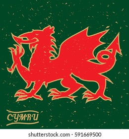 A red Welsh Dragon on a grungy green background with the typography CYMRU meaning Wales