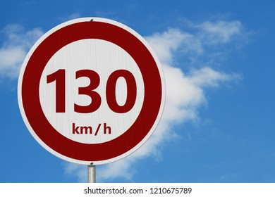 Red and white 130 km speed limit European style sign with sky  3D Illustrationbackground