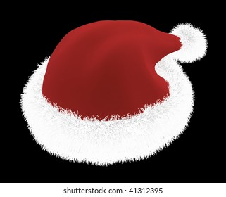 red white fluffy santa hat black stock photo edit now 739515535
