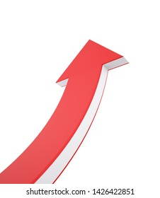 Red and White Arrow Up , Concept of Growth , 3d render