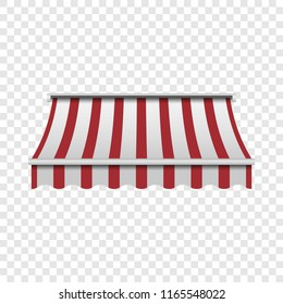 Red and white awning mockup. Realistic illustration of red and white awning mockup for on transparent background