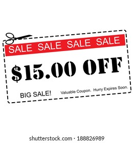 A red, white and black Fifteen Dollars Off Sale Coupon making a great concept.