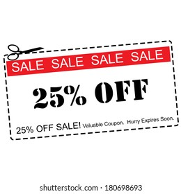A red, white and black Twenty Five Percent Off Sale Coupon making a great concept.