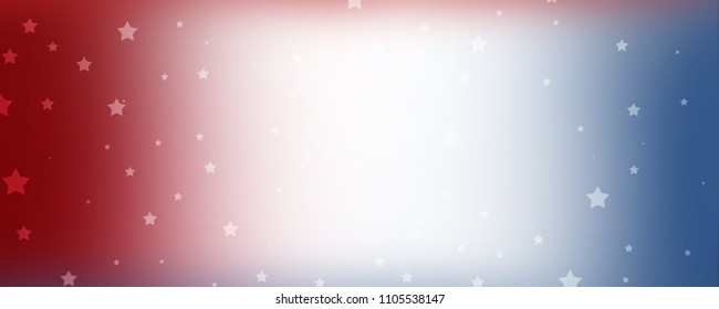 red white and blue background banner with stars and soft blurred smooth texture for July 4th; Memorial Day; and other patriotic holidays with blank center to add your own text or image.