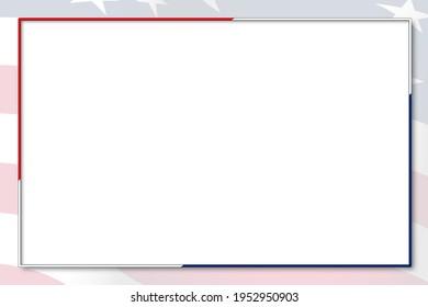 red white blue border box graphic invitation presentation card with american flag gradient