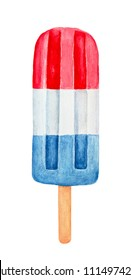 Red, white and blue patriotic popsicle on wooden stick. Hand drawn water color painting on white, isolated clip art element for design. Memorial Day, Flag Day, 4th of July, Labor Day sweet decoration.