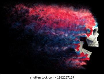 Red, white and blue skull disintegrating into dust - 3D Illustration