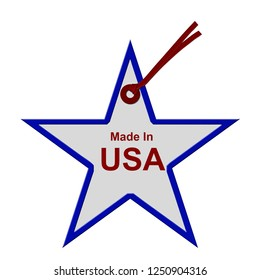 Red, White and Blue Star Shaped Gift Tag with words Made In The USA isolated on white, Buy American made products 3D Illustration